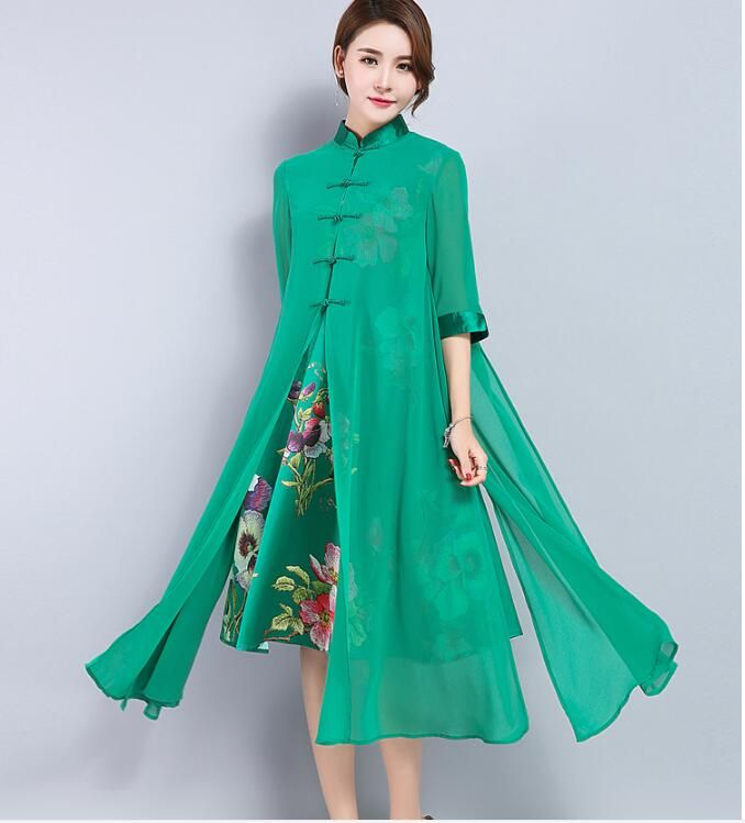 22b7d93f8ce Woman Tangzhuang clothing Spring Chinese dress green Mulberry silk Vietnam  ao dai Plus size cheongsam