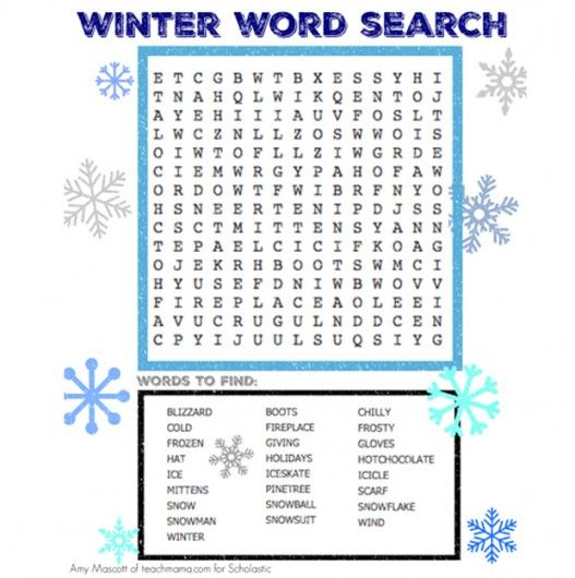 Winter Word Search Pinterest Word search, Winter words and School