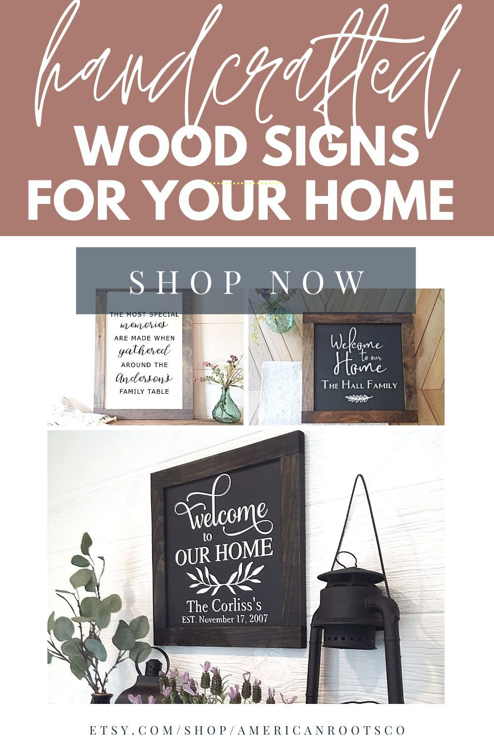 Customize your own wood sign on Etsy at American Roots Co. Get 10% off your first order. Customize your walls -->> SHOP NOW! #woodsigns #customsigns #welcomesigns #entrywaysigns