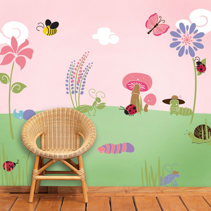 This Flower And Bug Garden Wall Mural Stencil Kit Is Great For Any Girls  Room Jpg