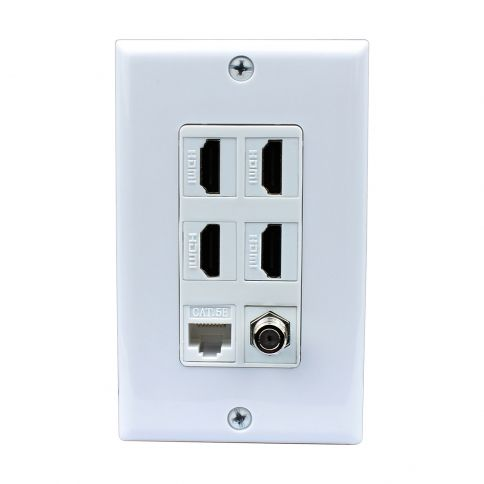here it is all in one compact wall plate 4 port hdmi 1 coax cable tv ftype 1 ethernet white wall plate decorative