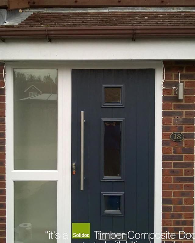 Anthracite Grey Genoa Side Panel Solidor Timber Composite Door From Timbercompositedoors Com With 12 Mon Front Porch Design Front Door Design Composite Door