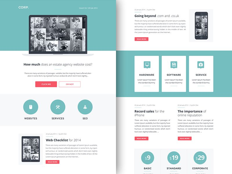 Freebie Psd Sketch Corp Responsive Html Email Newsletter Free
