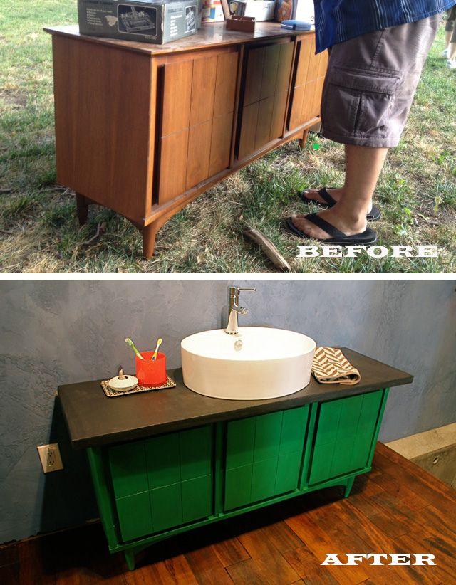 diy distressed bathroom vanity%0A Garage Sale Console Becomes Our Bathroom Vanity   Kara Paslay Design