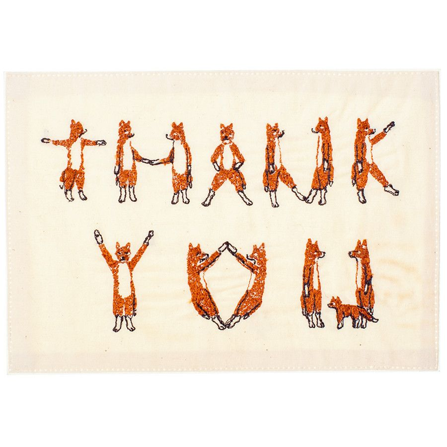 """""""What does the fox say??' Coral and Tusk - thank you foxes embroidered stationery"""
