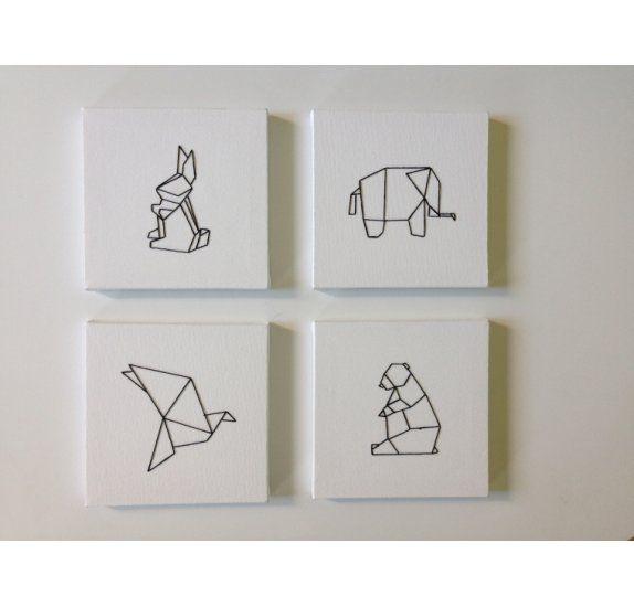 tuto r aliser un tableau brod origami par caro logo. Black Bedroom Furniture Sets. Home Design Ideas