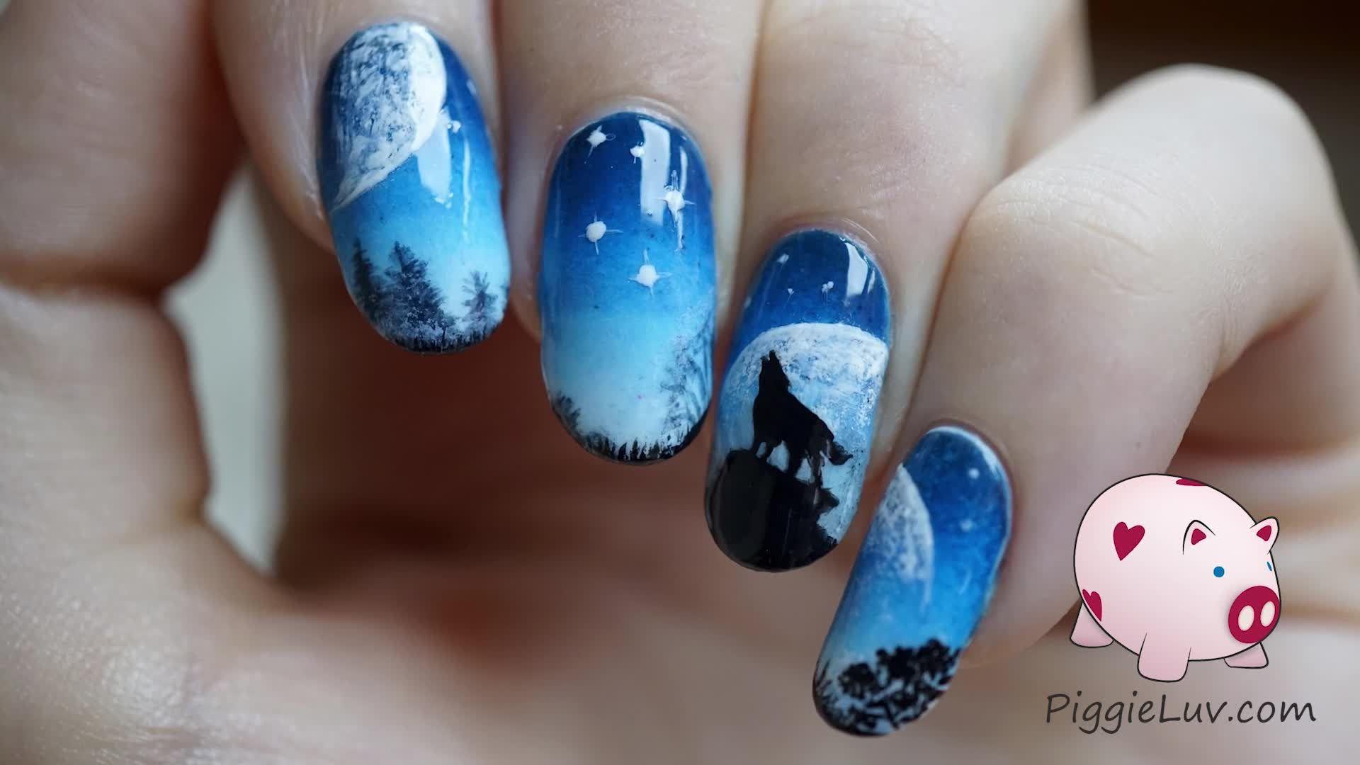 Galaxy Wolf Nail Art Tutorial