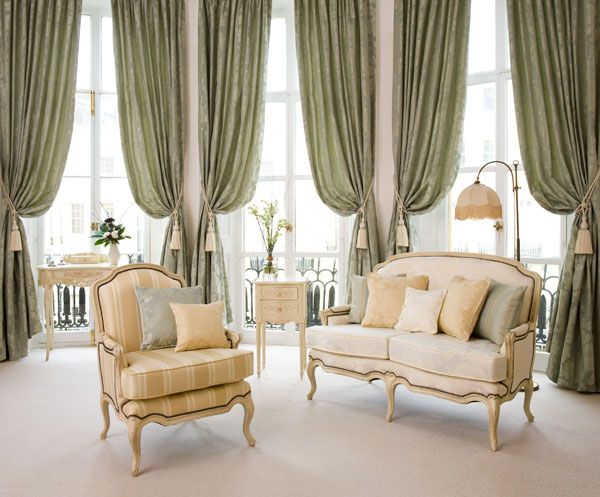 Choosing Curtain Ideas For Large Windows In Your Home: Perfect Elegant Living  Room With Green Curtain Ideas For Large Windows Equipped With Two Furniture  ...