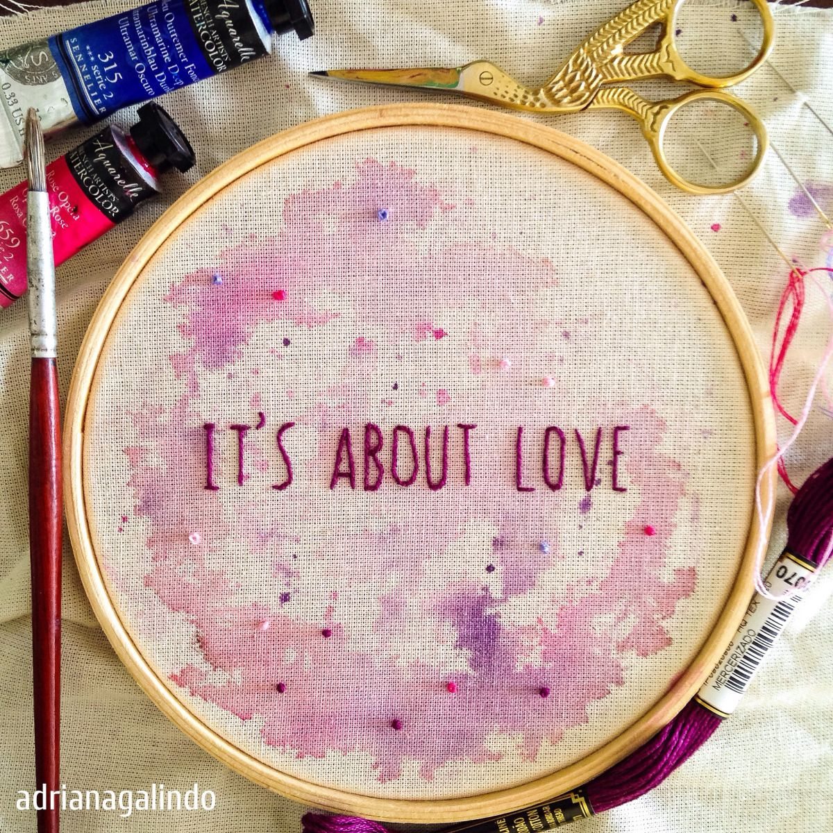 Bordados com aquarela/ Embroidery and watercolor / It\'s about love ...
