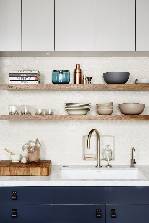 Image Result For White Kitchen Uppers Wood Shelves Kitchen