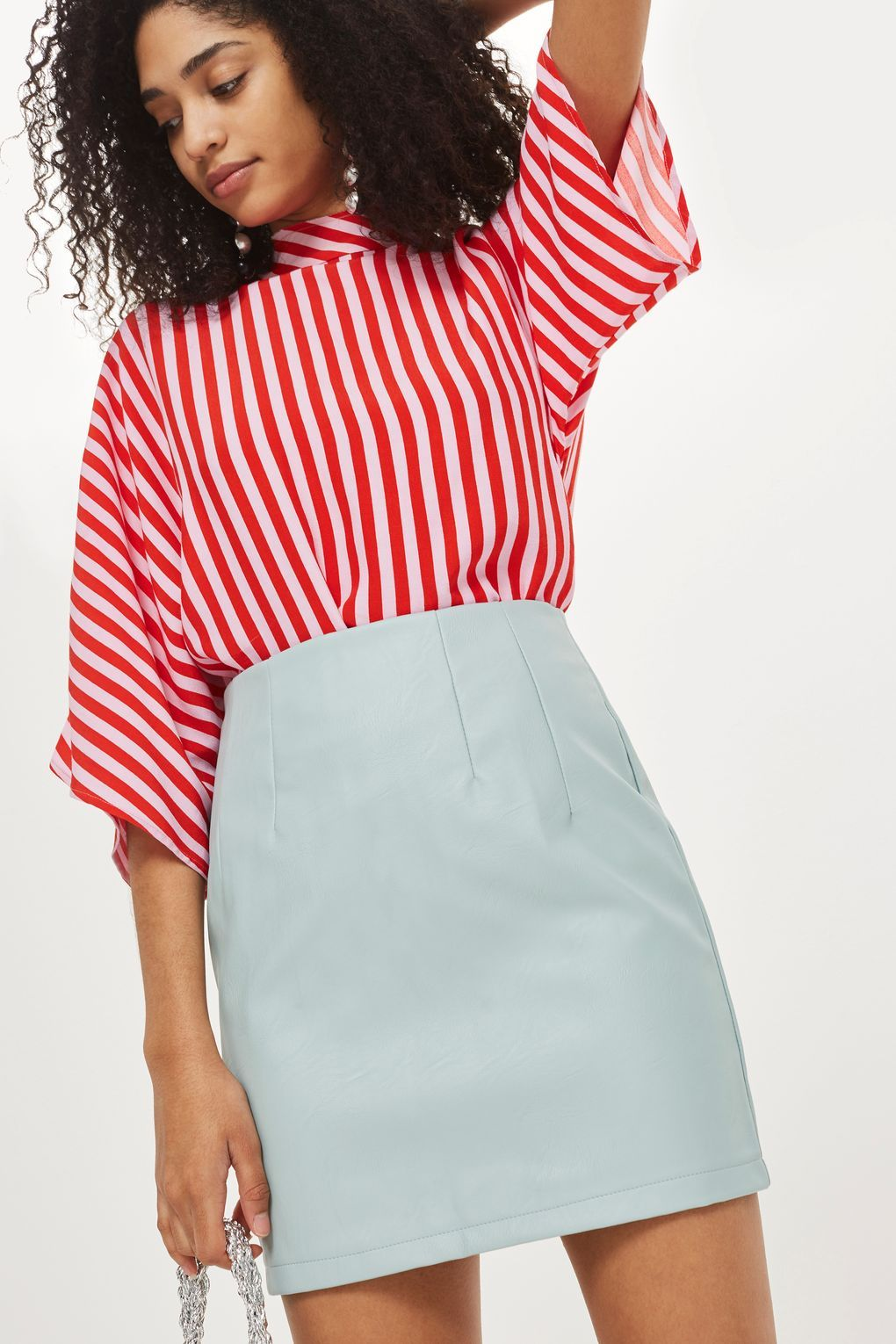 High waisted mini skirt