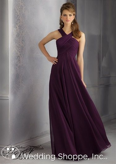 4996f9e5d4 A beautiful long chiffon bridesmaid dress with high criss-cross neckline.