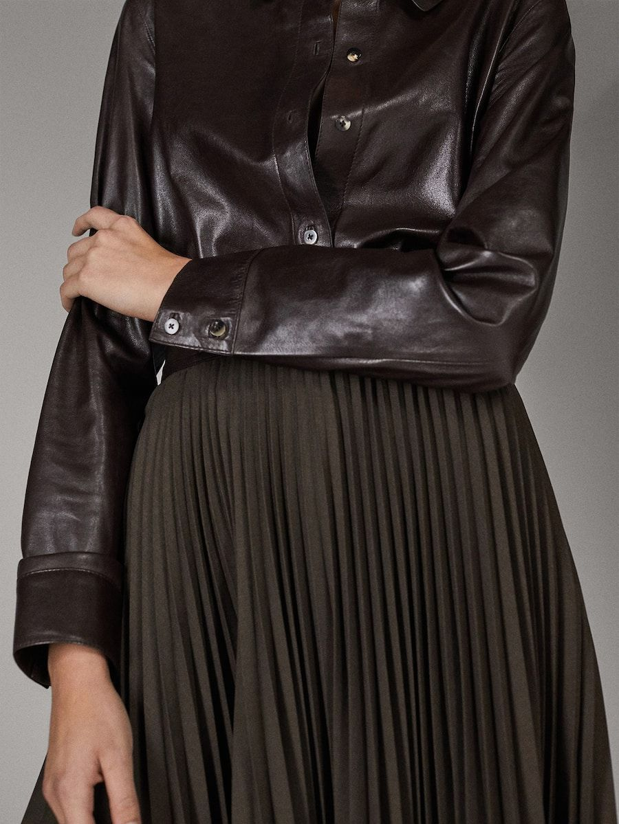 Limited Edition Nappa Shirt Women Massimo Dutti Leather Outfits Women Leather Dresses Leather Women