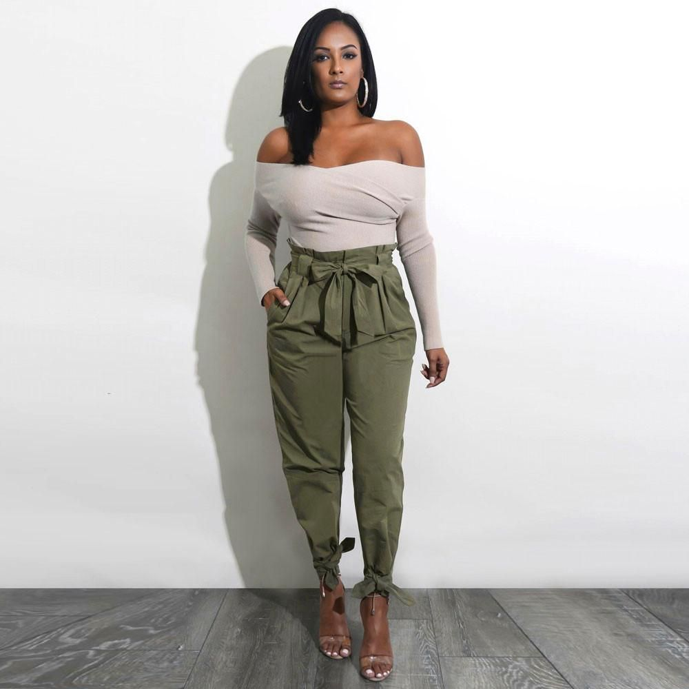 1b7fefb50ad8 Womens Belted High Waist Trousers Ladies Party Casual Pants – Natural Swag
