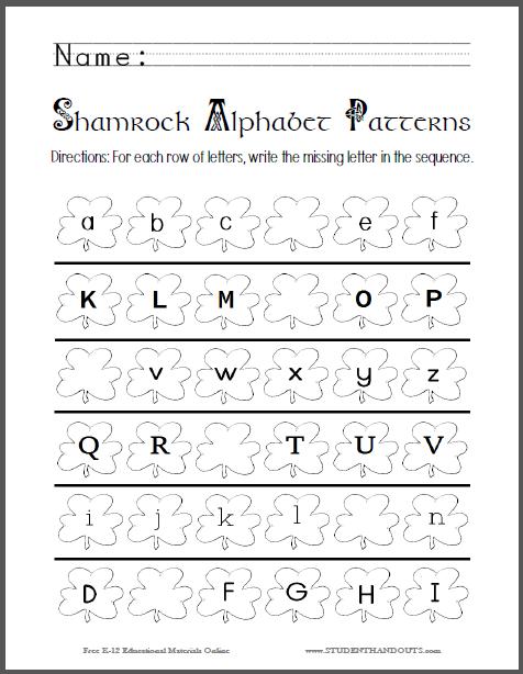 Shamrock Alphabet Patterns Worksheet Student Handouts Alphabet  Worksheets, Printable Alphabet Worksheets, Alphabet Worksheets Preschool