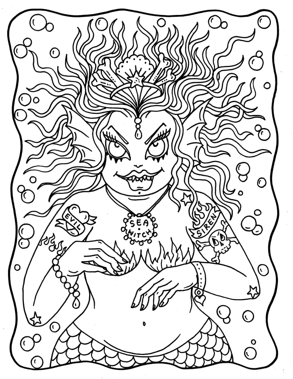 Mermaid Nightmares Pdf Downloadable Printable Digital Coloring Book Mermads Sirens Halloween Scary Kleurboek Kleurplaten Voor Volwassenen Etsy