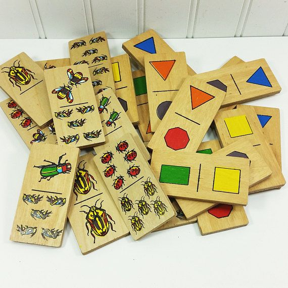 Wooden Dominoes For Children Vintage Colorful Bugs And Shapes Two