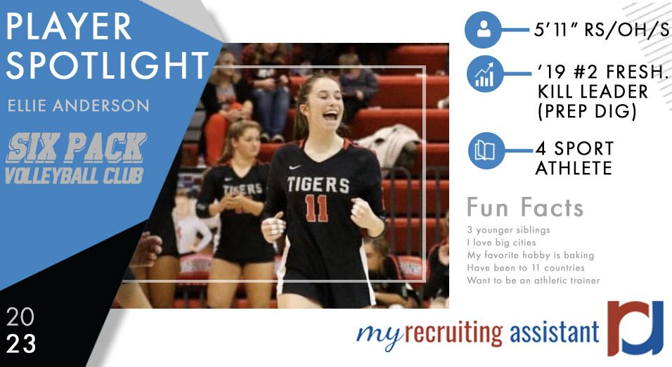 Today S Spotlight Player Is Ellie Anderson Of Six Pack Volleyball Club In 2020 Volleyball Clubs Fun Facts Athletic Trainer