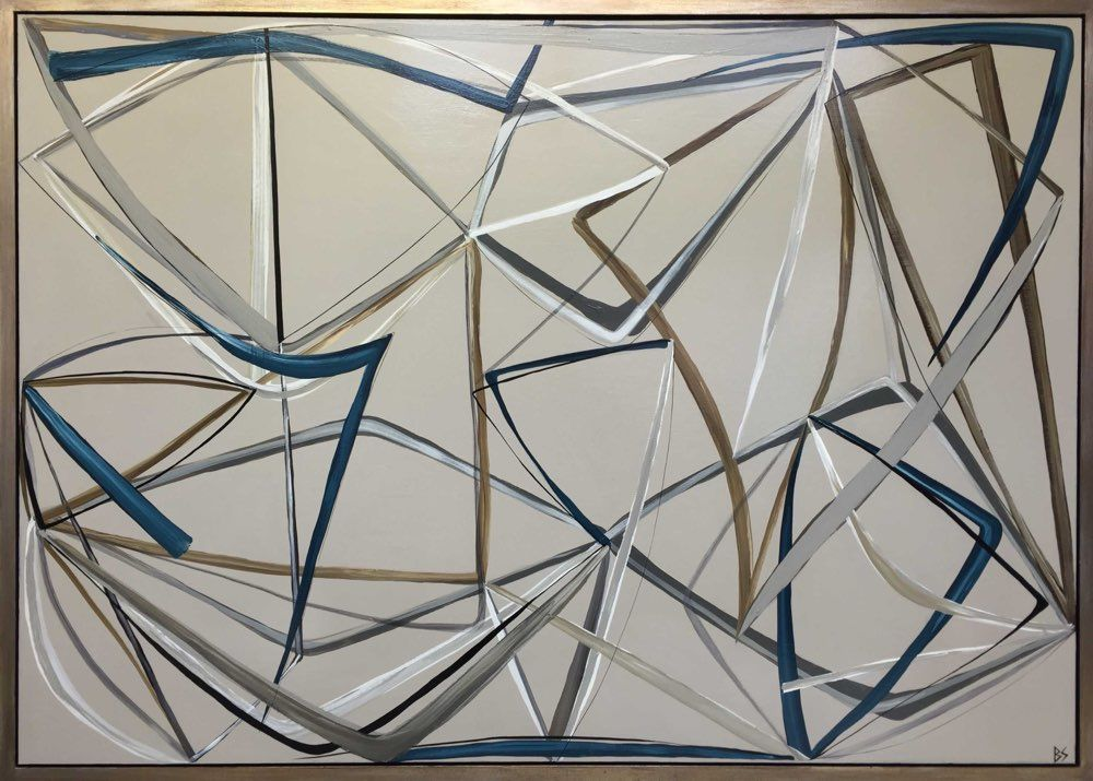 'String Theory in Petrel Blue' Oil & Acrylic on Board in Gold/Bronze Finish Shadow Gap Tray Frame