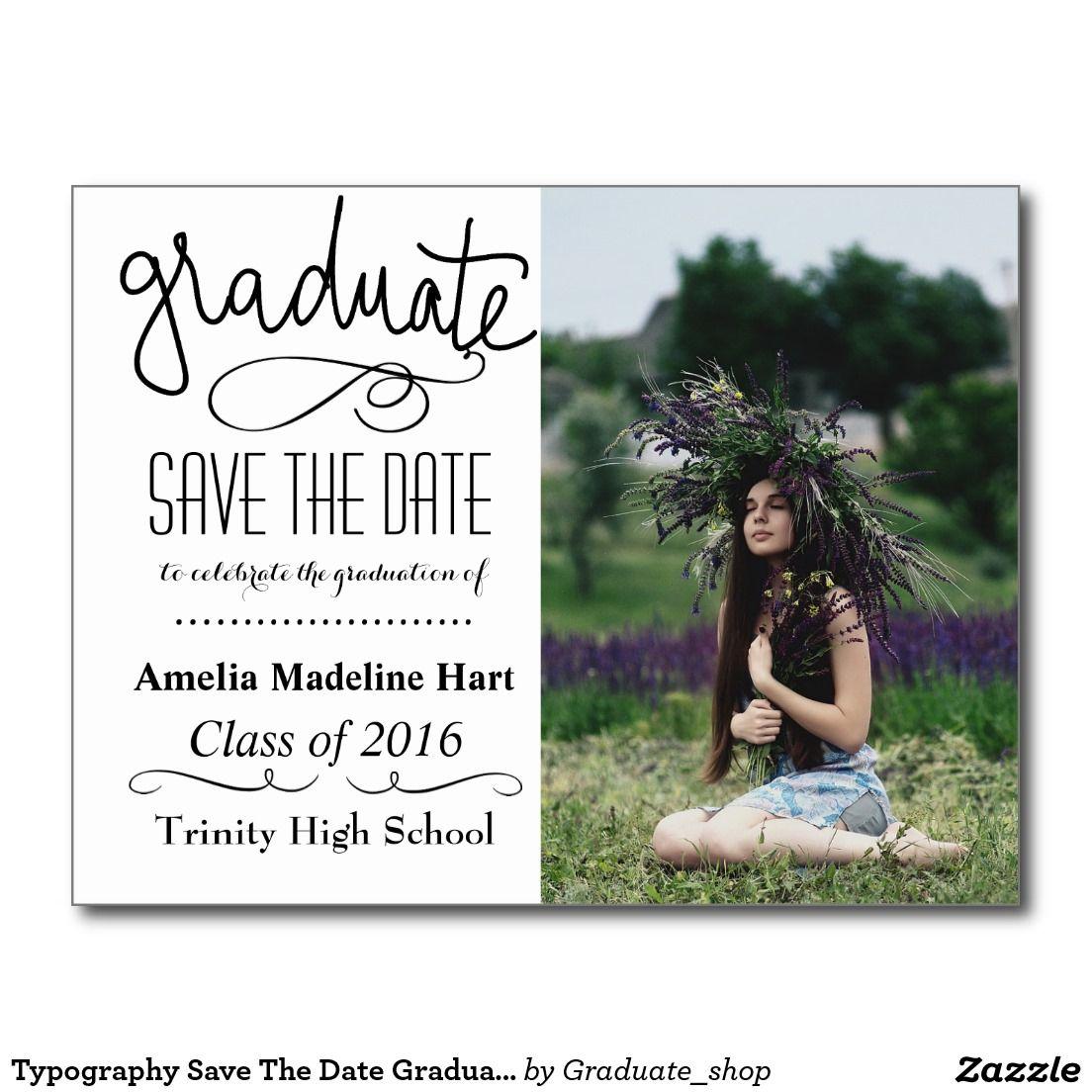 Typography Save The Date Graduation Party Photo Announcement Postcard Zazzle Com Photo Graduation Invitations Graduation Party Graduation Announcements