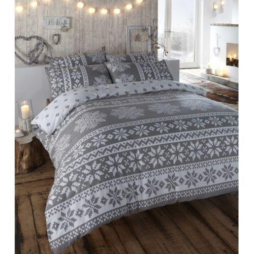 100% Brushed Cotton Reversible Flannelette Thermal Duvet Quilt Cover Bedding  Set