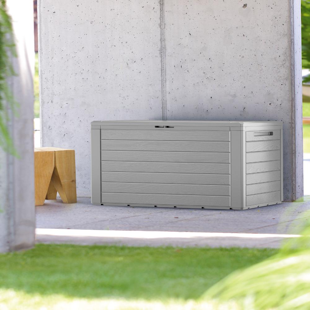 Auflagenbox Woody Grau Holzoptik 120x46x57cm Deubaxxl In 2021 Auflagenbox Holzbank Garten Aufbewahrung Garten