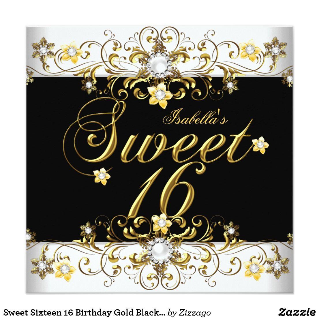 Sweet Sixteen 5 Birthday Gold Black Diamond Invitation  Zazzle