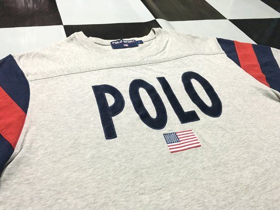 Vintage Polo sport long sleeve shirt big logo spell out Polo usa flag Gray  Red Blue Size L Excellent 105ccd923