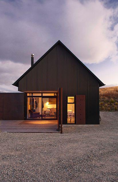 Black Corrugated Metal Cladding Wow I Wonder If That Black Coating Comes Off Ov Farmhouse Architecture Modern Farmhouse Exterior Architecture Design