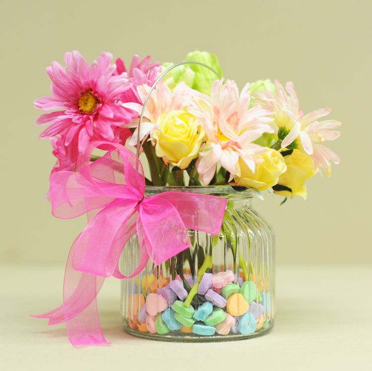 Use Valentine Candy As Filler For Flower Vases Show The Love