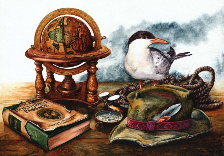 A still life watercolour painting featuring items perhaps