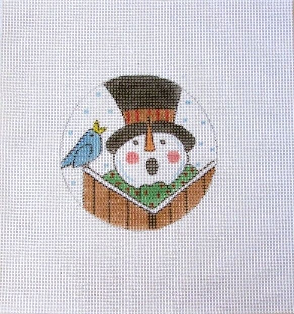 Caroling Bird and Snowman Handpainted Needlepoint Canvas #Unbranded