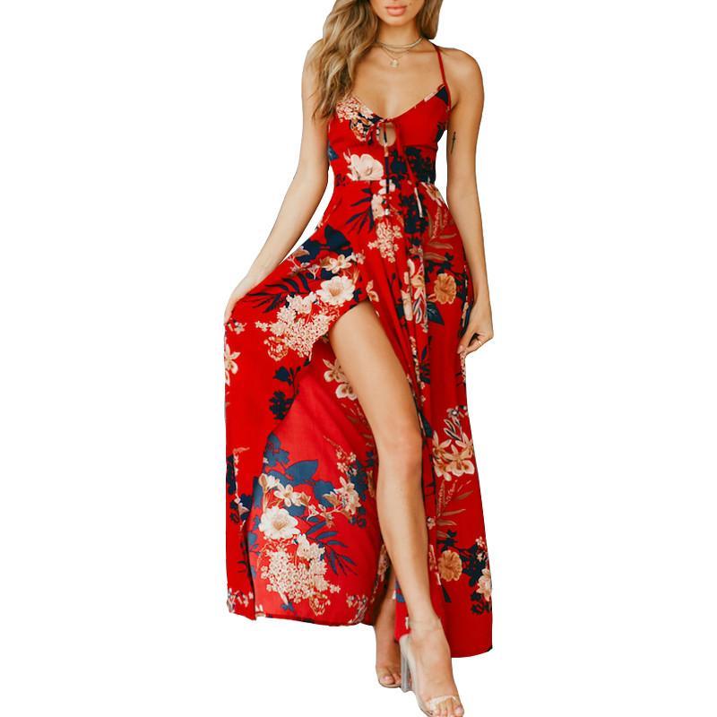 Angela Women Long Maxi Dress New Evening Party V-Neck Boho Size Medium 6 8 10 UK