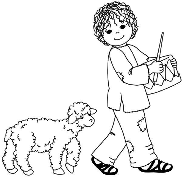 Drummer Boy Followed By His Sheep Coloring Pages : Kids