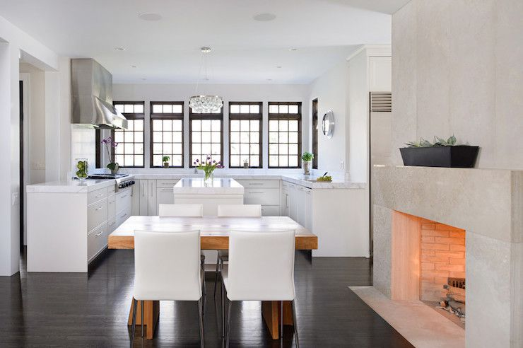 Concrete Fireplace In Dining Room