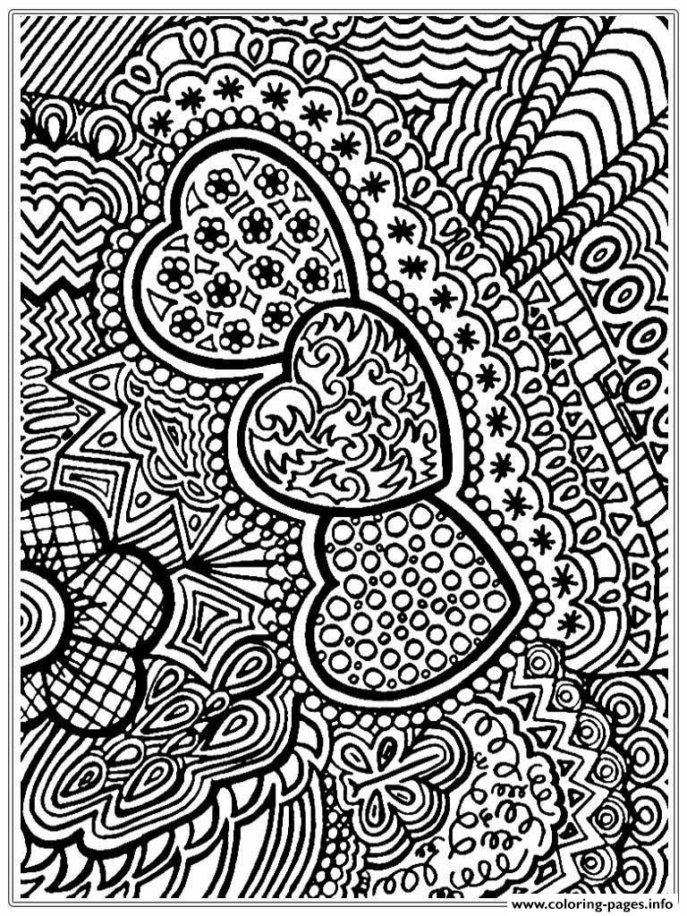 print advanced valentines day hearts coloring pages