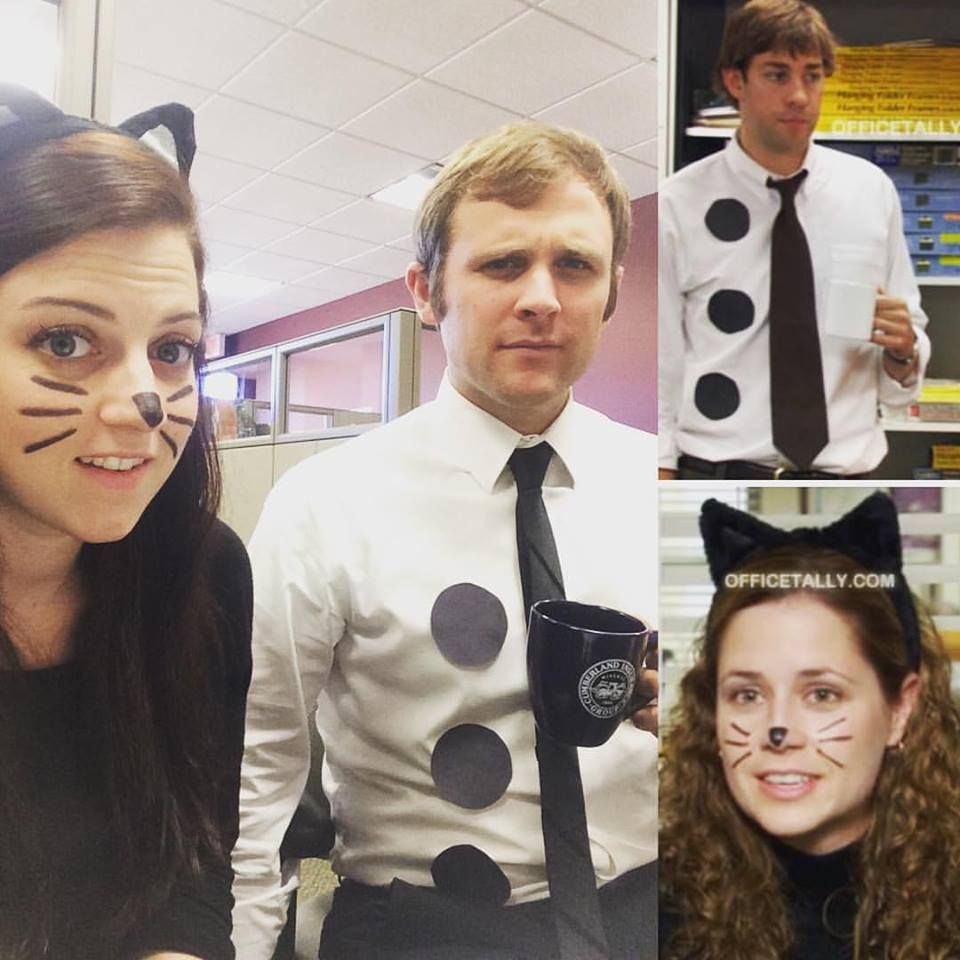 halloween couple costume! 3-hole punch jim & pam as a cat