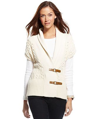 Tommy Hilfiger Cardigan, Short-Sleeve Cable-Knit - Sweaters | My ...