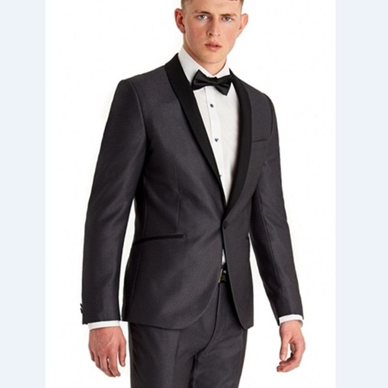 New Arrival Groomsmen Shawl Black Lapel Groom Tuxedos Dark Grey ...