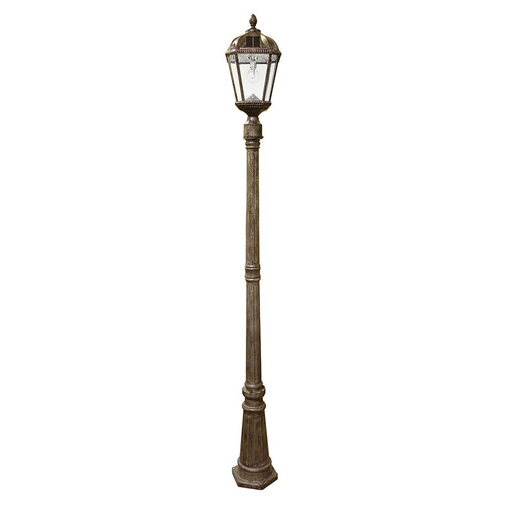 Gama Sonic Royal Bulb Series Single Weathered Bronze Integrated Led Outdoor Solar Lamp Post Light With Gs Solar Led Light Bulb Gs 98b S Wb The Home Depot Lamp Post Lights Solar Light