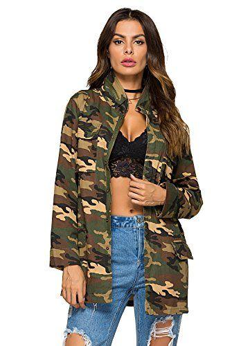 6f76889e7622f Escalier Womens Military Camo Jacket Zipper Causal Camoflage Utility Coat