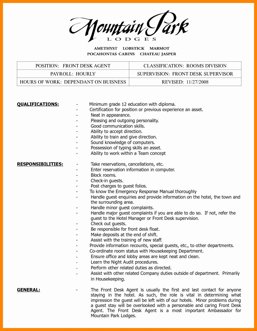 Front Desk Job Description Resume Fresh 8 Front Office Supervisor Resume Front Desk Agent Office Manager Resume Manager Resume