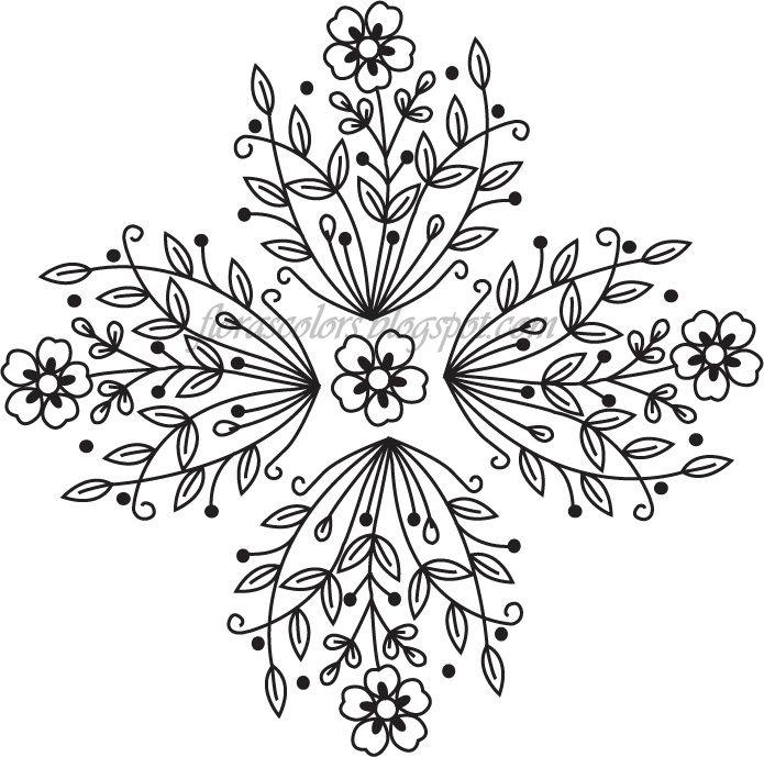Colores de Flora: bordado libre de la mano del patrón --- flores y ...