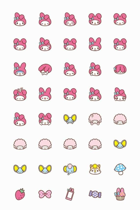 My melody Sanrio Washi emoji planner stickers 40 pcs