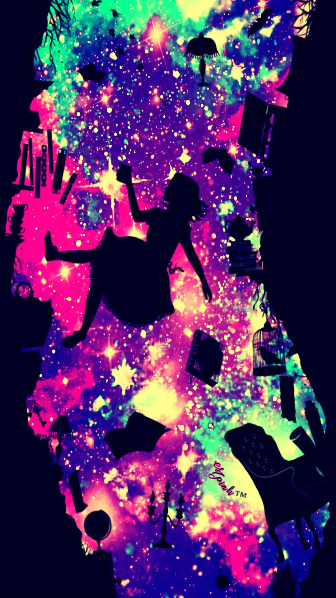 Cute Psychedelic Phone Wallpaper Alice And Wonderland Galaxy Wallpaper Androidwallpaper