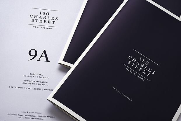 Identity and marketing materials for 150 Charles Street, a new luxury residential development in New York's West Village.