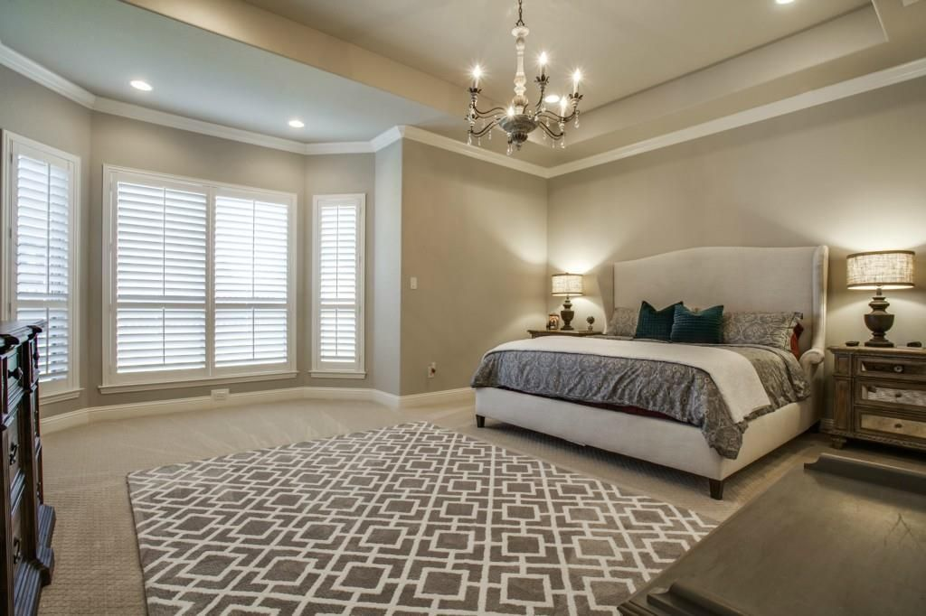 Elegant White And Gray Master Bedroom Tray Ceiling Bay