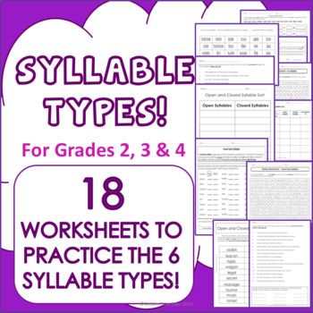 Syllable Types 18 Practice Worksheets 6 Types Grades 2 3 4 4th