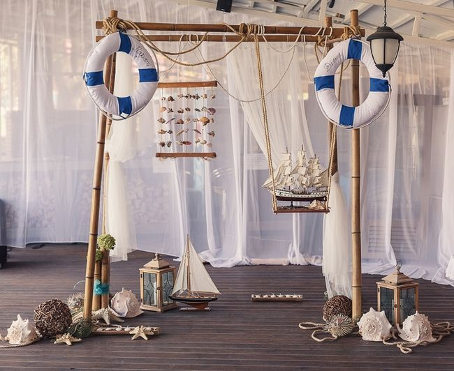 Nautical Decor For The Wedding Reception Decorated Arch Nautical