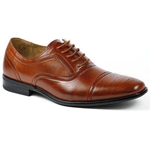 stunning Delli Aldo M-19006 Brown Mens Lace Up Cap Toe Oxford Dress Shoes